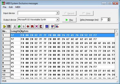 MIDI System Exclusive messages window