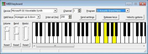 MIDI keyboard window